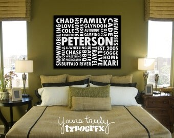 24x32 Canvas featuring Custom Typography Word Art - Your Words, Your Colors, Your Story - Great for Family, Wedding and Baby Gifts