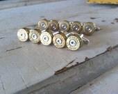 Bullet cufflinks 9 pair 45 auto 1911 brass silver tone mens handgun groomsmen wedding cuff links