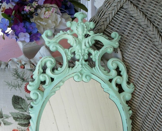 Shabby Aqua Beach Cottage Ornate Wall Mirror Medium Pastel Oval Hollywood Regency Victorian