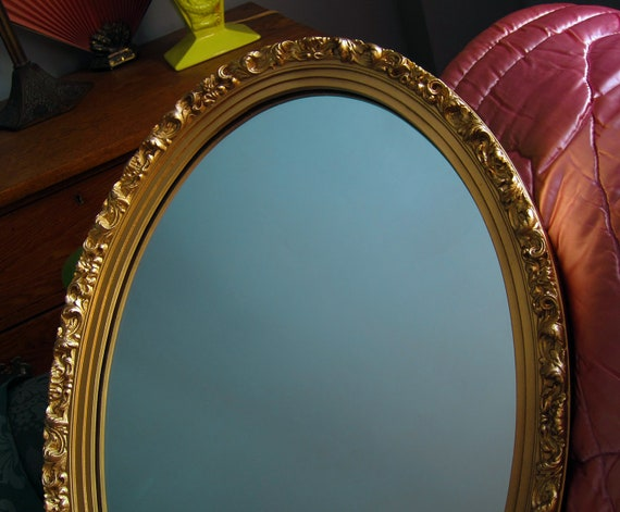 large gold oval wall mirror vintage syroco