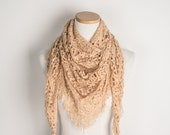 Crochet Triangle Scarf, Beaded Fringes, Custom Colored Merino Wool - Made to Order