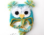 OWL BABY HAT - turquoise - newborn -  baby -  photo prop - gift idea - wool/ acrylic - Made To Order