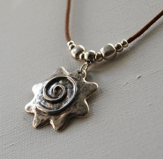 Sun Pendant Necklace. Silver Plated Sun Pendant and Brown Cotton Cord Necklace