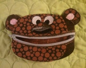 Cute Brown Embroidered Bear Zippered Coin Purse