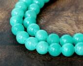 Mountain Jade Beads, Sea Green, 6mm Round - 15.5 Inch Strand - eMJR-G15-6