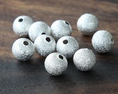 Stardust Bead, Silver Plated, 8mm Round  - 50 pcs - eSTR01S-8