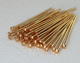 Head Pin, Gold Plated, 1 Inch (25mm) 21 gauge - 100 pcs - eHPGPB21-1