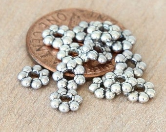 Spacer Beads, Antique Silver, 6mm Daisy - 50 pcs - eTS007AS-6x2