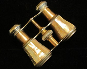 Antique 1800s Opera Glasses Chevalier Paris Mother of Pearl Opera Glasses Leather Case Excellent Condition