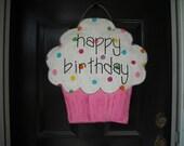 Pink Burlap Birthday Cupcake
