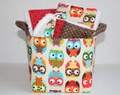 Baby gift basket, Bright Owls, Burp cloth set, Wash cloth set, bib and  fabric storage bucket.