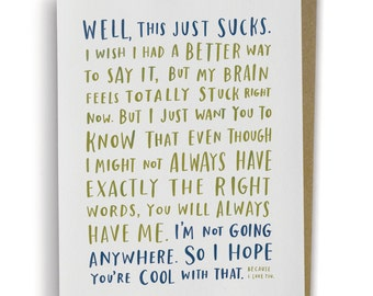 Awkward Sympathy Card / A Sympathy Card For When You Don't Know What To Say 170-C