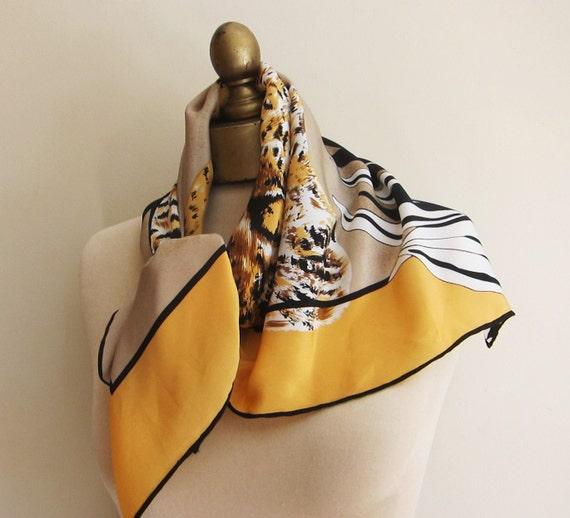 Bill Blass silk scarf LEOPARD power dressing