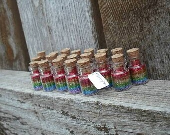 Fairy Jars any color combination, Fairy Tale, Princess, Tiny, party favor, Pixie, Glitter, Rainbow, Faerie, Faery, castle, magical, wish