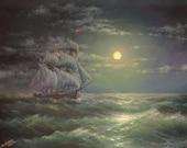 "274 -  Sailing Ship at Night Sea, 11""x 14"" Gallery wrap canvas giclee print"