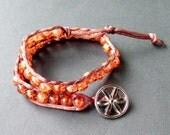 Amber Czech glass double wrap hand beaded bracelet