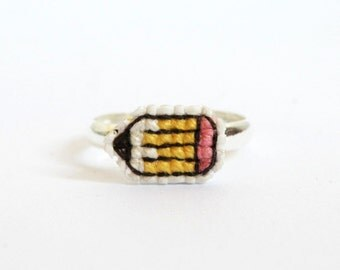 Pencil cross stitch ring, gifts for teachers, back to school, gifts under 20, gifts for writers, yellow pencil, gifts for artists