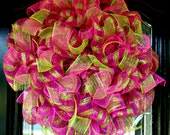 Hot Pink and Lime Green Deluxe Metallic Deco Mesh Wreath