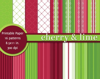 PRINTABLE Paper 8.5x11 inch - Cherry and Lime - Red & Green - INSTANT DOWNLOAD