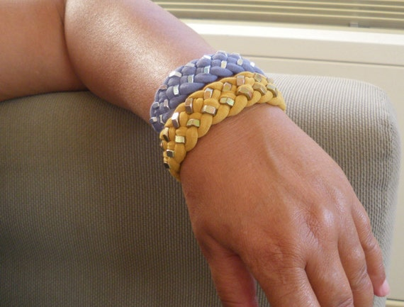 Mustard Yellow Jersey Fabric Braided Bracelet with double row Hex Nut