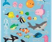 Korean Scrapbook Die-cut Puffy Stickers, Sea animal (STPU03022)