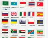 Korean Scrapbook Die-cut Puffy Stickers, Country Flags (STPU03022)