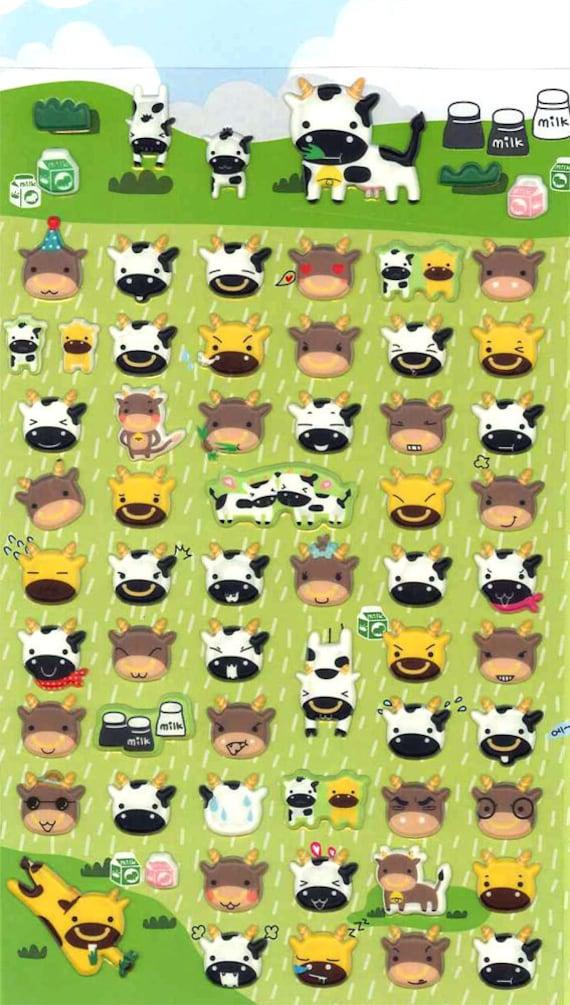 Korean Scrapbook Die-cut Puffy Stickers, Funny cows (STPU03021)