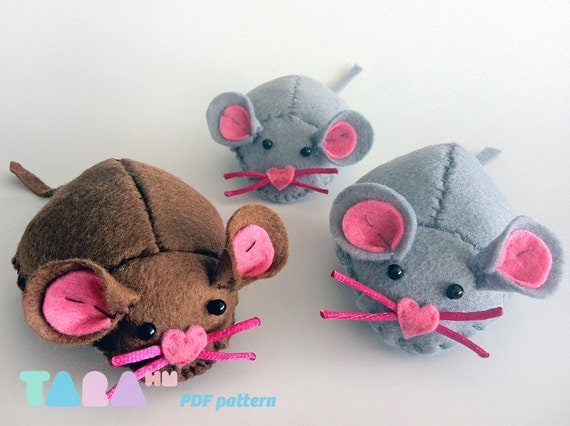 Diy Felt Pattern Mouse Fabric Mouse Toy Instant Download