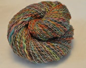 Handspun Yarn - Rainbow Fizz - with silk - varigated yarn
