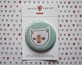 "Badge / Pinback Button 1 Pack 2-1/4"" - Original Illustration - Pink Nosed Cat"