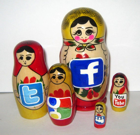 Russian nesting doll  with social media icons matryoshka