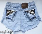 Levi's Vintage Denim Shorts High Waisted Destroyed Light Blue Studded Jean Cut Offs