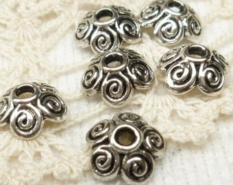 10mm Antiqued Silver Swirl Flower Bead Cap (20) - SF4