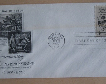 Vintage First Day Cover Issue FLUSHING REMONSTRANCE Stamped Envelope 1957