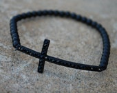 Sideways Cross Bracelet , Black Cross- SALE