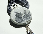 elephant illustration - resin pendant - black and gray