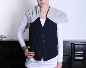 Customised Vintage Pinstripe Waistcoat with Pleat Detail