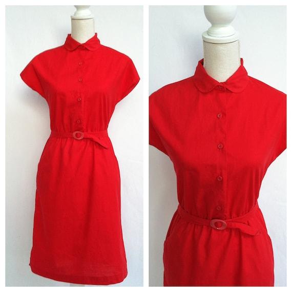 70s Vintage Little Red Dress / Medium / Peter Pan Collar / Cap Sleeves / Attached Belt