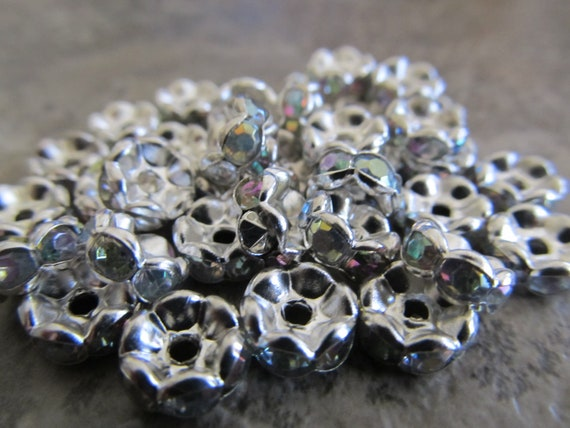 50 Silver Tone Rondelle Spacer with Clear AB Rhinestone 8mm