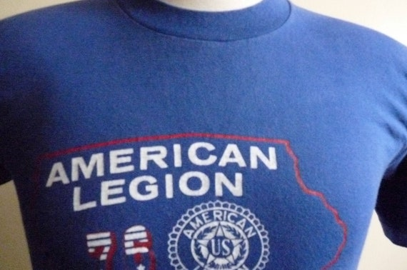 vintage 80's American Legion 76 Boys State Iowa blue graphic men's/unisex Collegiate Pacific t-shirt red and white print on blue tee with lo