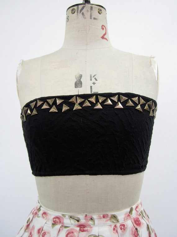 ReMade: Stretchy Black Bandeau Crop Top with Studs