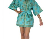 Aqua blue with Gold  flowers Gold print patten Thai Batik Cotton Short Kimono  Robe M to 2 XL