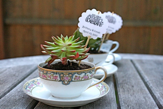 """Wedding favor tags- 50 plant stakes customized with your names and wedding date.  Original design """"Let Love Bloom."""""""