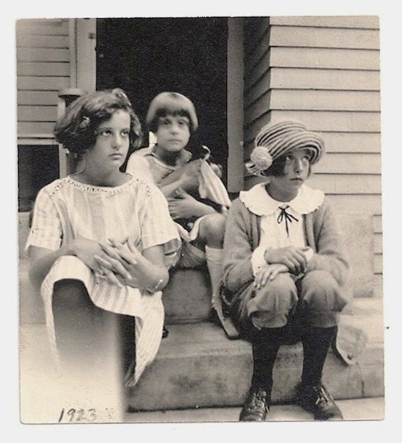 Old Photo Girls sitting on Porch Photograph vintage