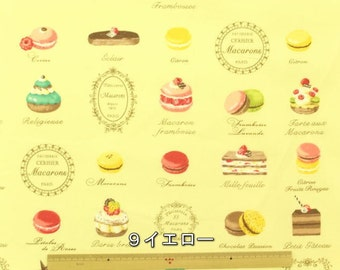 Yuwa Japanese Fabric  / Cute Macaron Design Oxford Fabric Yellow - 50cm x 110cm