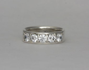 Cubic zirconia silver band, size 7, #247