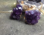 Amethyst cluster Gold necklace