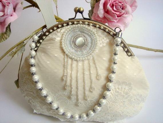 Bridal  Pearls Clutch,Vintage Ivory Bag,Bridesmaids Clutch,Bridal Bag,Lace Bag,Vintage Wedding lace Bag