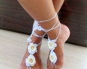 White Flower Barefoot Sandals-Hand Crochet Sandals-footless sandals-Beach Jewelry-Pool-Ready to Ship
