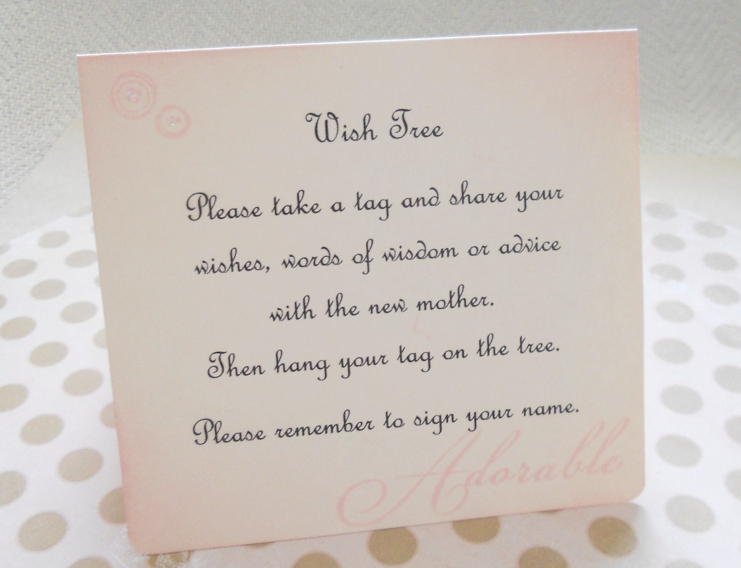 wish card instruction sign baby shower wish tree